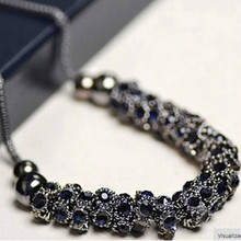 2016 Korean Fashion Boutique Collar Gun Black Round Multi Parts Blue Full Imitation Crystal Necklace Wholesale Women
