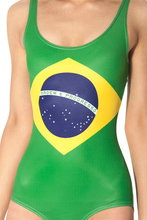 Womens Swimwear Sexy Thong One Piece Swimsuit Brazil Flag Printing Bathing Suit Lady Bodysuit Bikini
