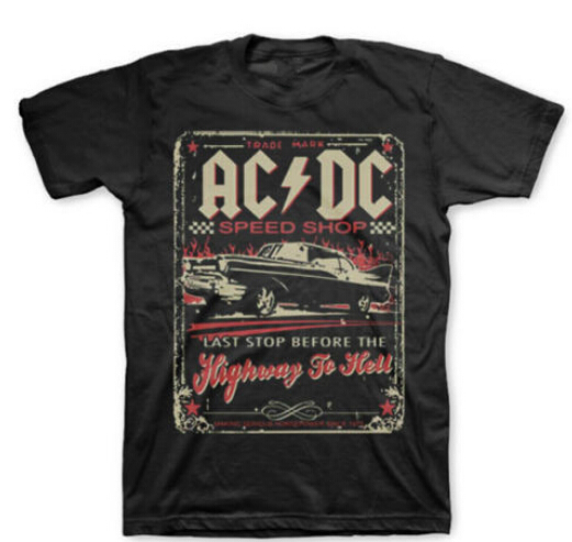 AC/DC Speed Shop Highway To Hell T-Shirt New Authentic Rock Tee XS-3XL(China (Mainland))