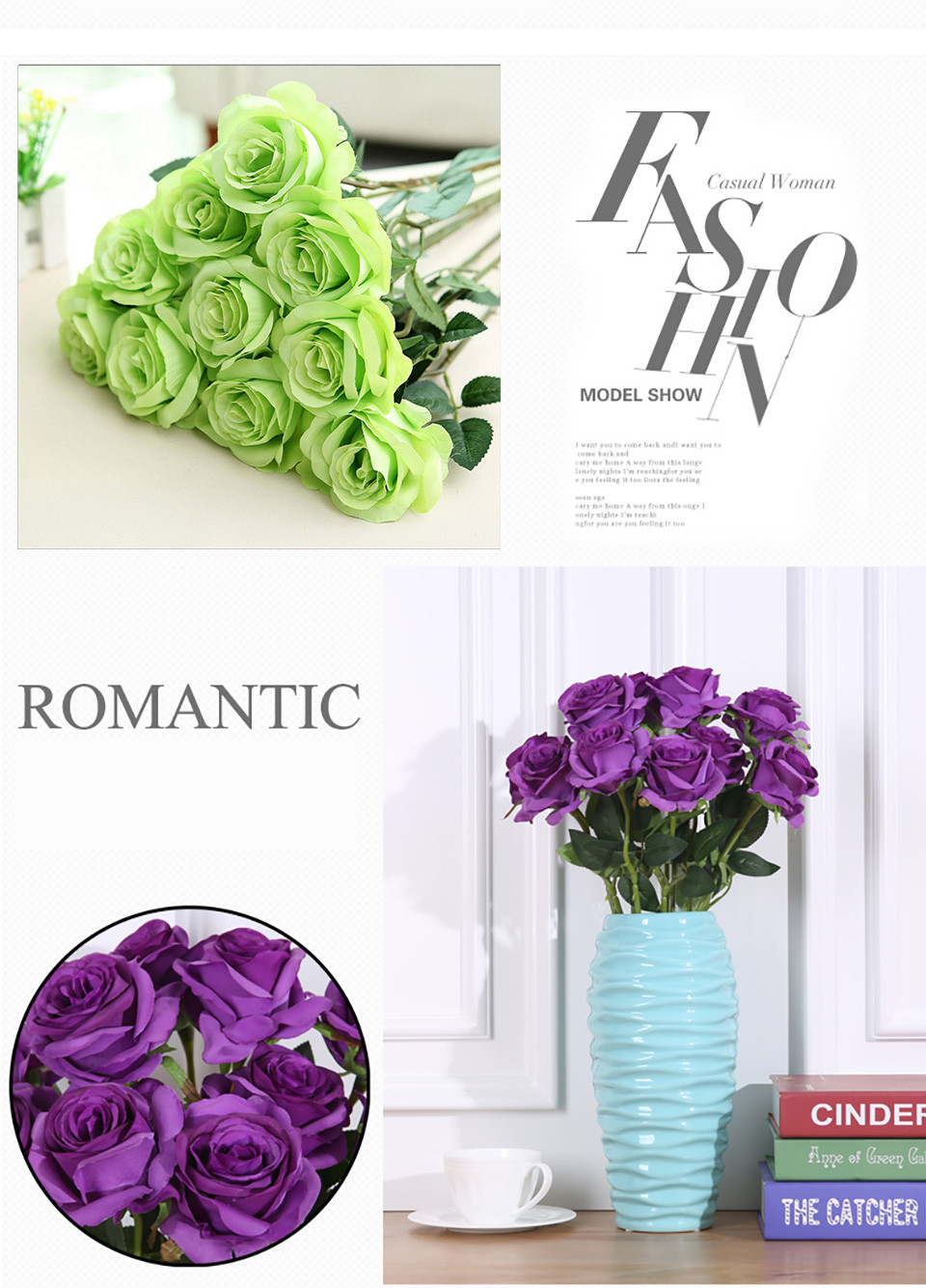 1pc Silk Roses Artificial Flowers Wedding Decoration Fake Flowers White Blue Green Pink Red Purple Artificial Silk Flowers Roses 123_04_1