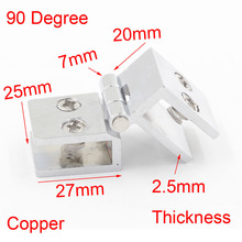 2PCS 90 Degree Copper Glass Hinge Cabinet Hinges(China)