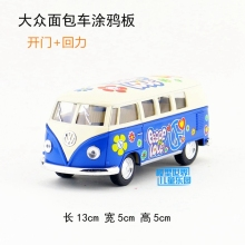 Brand New KT 1/32 Scale Car Toys 1962 Volkswagen Bus Peace Love Diecast Metal Pull Back Car Model Toy For Gift/Kids/Collection