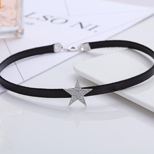 New fashion retro OL temperament flashing five-pointed star zircon short chain, ladies fashion jewelry(China)