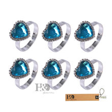 12PCS Blue Heart Crystal Napkin Ring Holders Wedding Party Anniversary Table Decor 1.3*2.1 Inch(China)