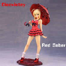 H25cm Anime Fate Alphamax Fate / Extra CCC Red Saber Nero Dress Umbrella Sexy Girl Kawaii Collection Model Toy Dianxiatoy