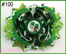 free shipping 140pcs 2017 Newest St. Patrick's Day hair bows Festival girl holiday boutique hair bows girl hair clips(China)