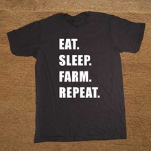 Eat. Sleep. Farm. Repeat. Farming Farmers Tractor T Shirt Novelty Funny Tshirt Mens Clothing Short Sleeve Camisetas T-shirt