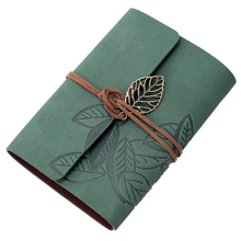 Notebook memo pad diary book Leather PU Mobile sheets Cordon Vintage 90 Pages green(China)