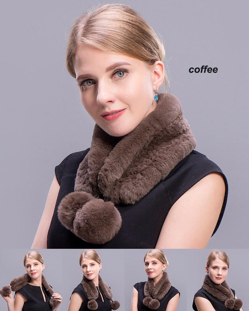 rex rabbit short scarf coffee 4