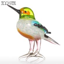Tooarts Gift Glass Animal Mini Statuettes Handblown Home Decor Multicolor Modern Tiny Bird Figurine Home Decoration Accessories(China)