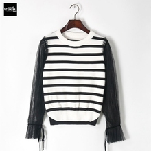 2017 New Autumn Runway Designer Women Sweater Pullover Striped Mesh Sheer Lace up Basic Sweaters Knitted Top Jumper Pullovers