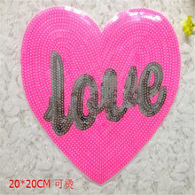 Fashion Clothes Sequins Embroidery Patch For Clothing T-shirt Sewing Biker Patches Love Heart Pink Logo Free Shipping(China)