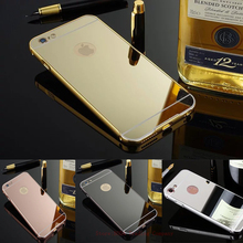 Luxury Gold Mirror Aluminum Frame Acrylic Case For Apple iPhone 7 Plus 6 6s Plus 5s se 4 4s Coque Metal Frame PC Back Cover Case