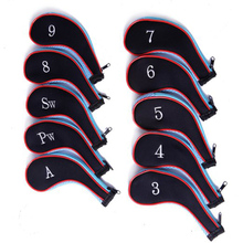 10pcs/set Zippered Golf Club Iron Covers Neoprene Putter Headcovers Head Cover Protect Case Pocket Golf Accessories
