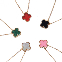 925 Sterling Silver Jewelry For Women Necklace Classic Clover Fine Jewelry Colorful Four Leaf Clover Necklace Rose Gold Color