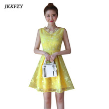 Buy Summer Korean New Sleeveless sexy Dress Woman V Neck Slim Thin Lace Dress Girl Short Elegant Casual Party Dress Pink Blue Yellow for $23.03 in AliExpress store