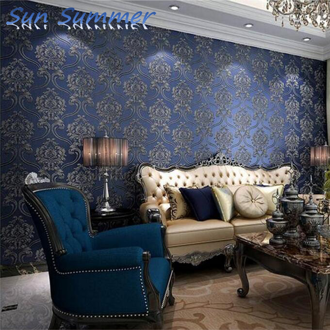 deep embossing damask designs washable pvc wallpaper waterproof  para casa<br>