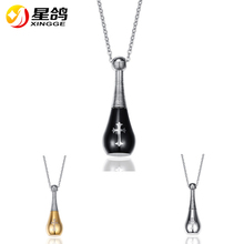 Fashion Empty Perfume Bottle Necklaces Pendants With Cross For Women Black & Gold & Silver Color Necklace Jewelry Wholesale