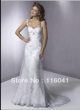 Illusion Strap Wedding Dresses Custom Make A line Empire Tulle Lace Classic China Factory Good Feedback Store