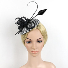 Flower Black White Grid Hair Fascinator For Women Satin Bow Feather Ribbon Mini Top Hat Hair Clip Hairband Ladies Banquet