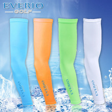 Summer unisex golf sports arm sleeve sun screen UV protective ice feel arm sleeve white orange green blue men or women top sleev(China)