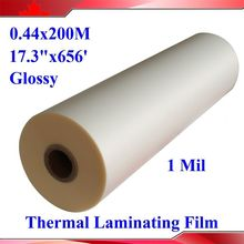 "Glossy 440mmx200M Hot Laminating Films 1 Rolls 28Mic 1Mil Bopp Matt 1"" Core for Hot Roll Laminator(China)"