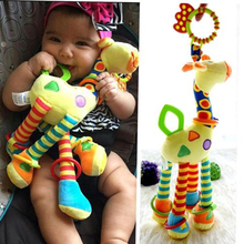 2017 New Plush Infant Baby Development Soft Giraffe Animal Handbells Rattles Handle Toys Hot Selling WIth Teether Baby Toy(China)