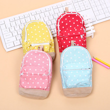 1PC Kawaii Mini Colorful Dot Pattern School Bag Students Children Canvas Pen Bag Pencil Case