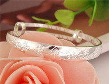 H:HYDE  Gift Jewelry Bracelet Bangle Silver Color Bangles Bracelets With Chinese Best Wishes to Children