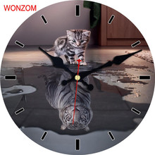 WONZOM Cat Dog Design Large Animal Wall Clock Silent Living Room Wall Decor Saat Home Decoration Watch Wall 2017 Reloj De Pared