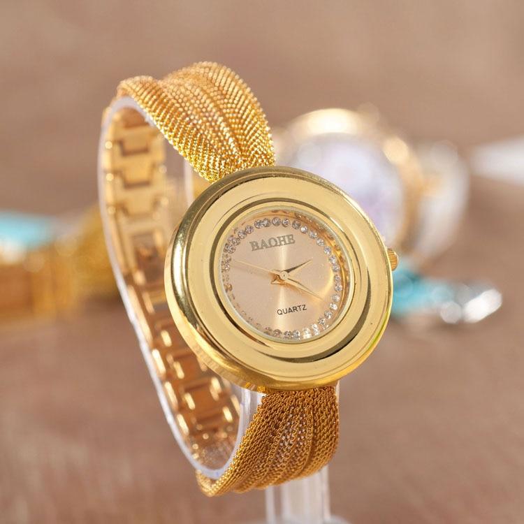 NEW Elastic Metal Women Watch Wristwatch Woman crystal analog quartz Rhinestone Golden Watch Geneva Style<br><br>Aliexpress