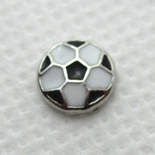 Hot selling 50pcs/lot football floating charms living glass memory floating lockets for diy jewelry
