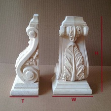 Premintehdw H420*W250*T130mm Preminum European Leaf Design Architectural Corbels Wood Corbel(China)