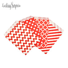 "25pcs Craft Paper Candy Bag 5 X 7"" Polka Dots Stripes Buffet Popcorn Food Safe Fries Hamburger Fried Chicken Oil Paper Gift Bag(China)"