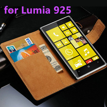 N925 for Microsoft Nokia Lumia 925 Flip Luxury Case Split Leather Phone Protective Cards With Stand black Cover Nokia925(China)