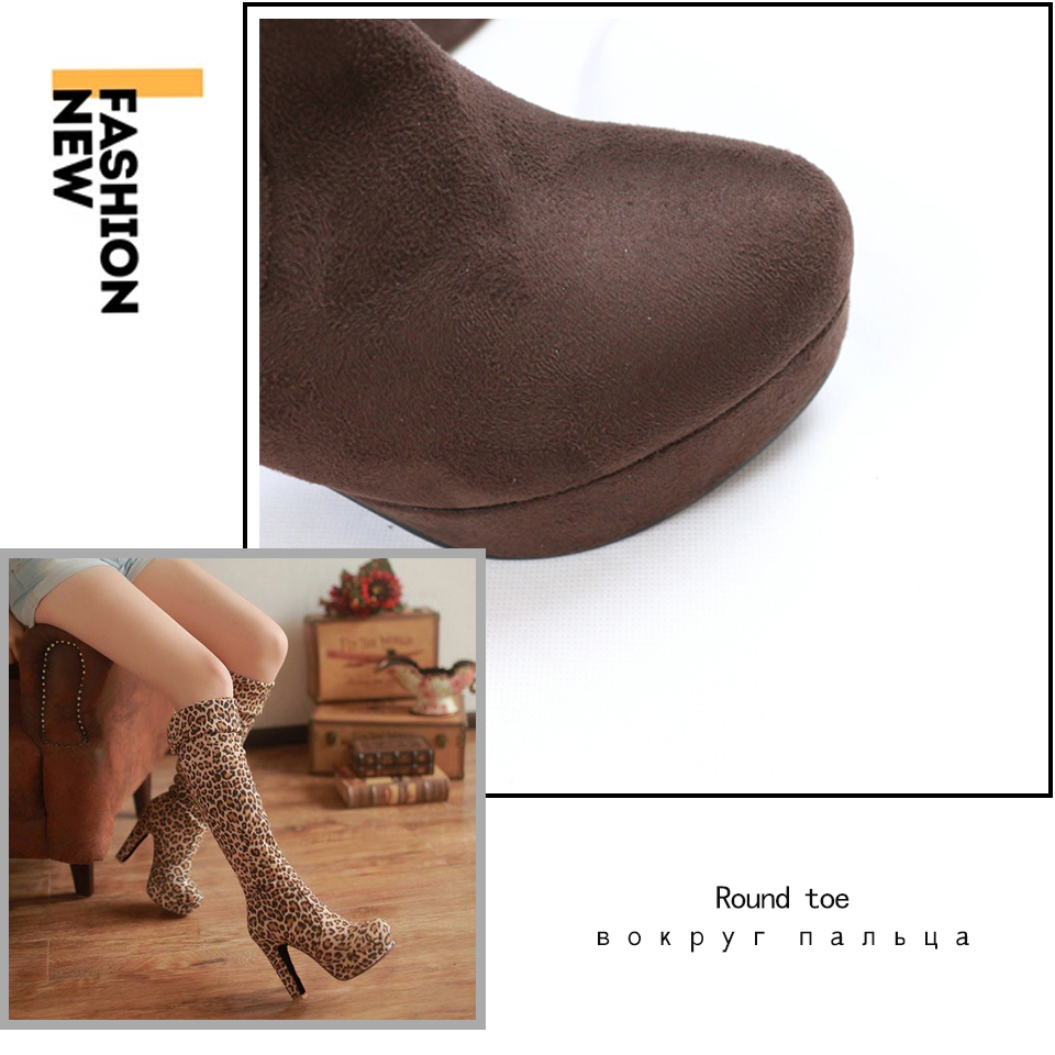 New Women's Boots, Sexy Fashion Over the Knee Boots, Sexy Thin Square Heel, Boot Platform Woman Shoes 23