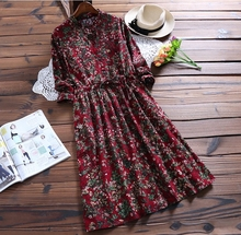 Fashion Style Beautiful Floral Printed Wool Dress Women Long Sleeve Casual Loose Flowers Print Woolen Dress Femme Shirts Dress(China)