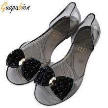 Guapabien New 2017 Bling Bowtie Plastic Women Sandals Summer Peep Toe Jelly Shoes Casual Rhinestone Bow Ladies Sandals Plus Size