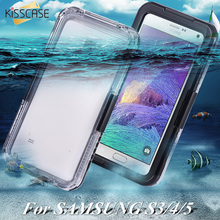 KISSCASE Waterproof Swimming Case For Note 4 3 2 Samsung Galaxy N910 N9000 N7100 Clear Crystal Cover Diving Accessories Case(China)