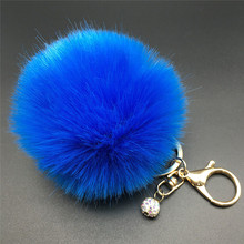 8CM Rabbit Fur Fluffy Pompom Ball Handbag Car Pendant Key Chain Keyring
