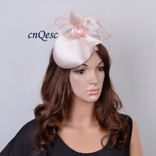 2017 NEW 8 colors Nude pink Matte satin fascinator sinamay hat for wedding party Races.FREE SHIPPING(China)