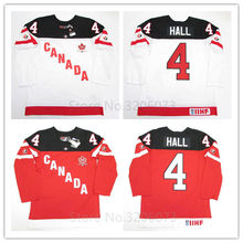 TAYLOR HALL RED WHITE TEAM CANADA 100th ANNIVERSARY HOCKEY JERSEY Mens Embroidery Stitched Customize any number and name Jerseys(China)