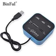 BinFul Combo All In One USB 2.0 USB HUB Micro SD High Speed Card Reader 3 Ports Adapter Connector For Tablet PC Computer Laptop(China)