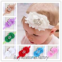 Factory Price Kids Shabby Flower Headbands With Crown Rhinestone Hair Accessories Christmas Hairbands Girls Photography Props(China)