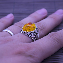 2017 Fashion Hot Restoring Ring with Yellow Stones, Best Selling Tibetan silver Plated Ring for Women(China)