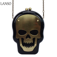 Hot-Sell American Girl Cool Skull Chain Bag Acrylic 3D Crossbones Evening Party Shoulder Bags Charming Bronze Classic Clutches