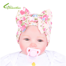 Newborn Baby Floral Hat Big Bow Baby Hat Organic Cotton Spring Autumn Hat Lovely Baby Beanies Caps Accessories Infant Gift(China)