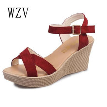 WZV Hot sale 2017 Women Sandals summer diamond casual fashion fish mouth shoes wedge sandals women shoes free shipping M060