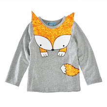 kids Fox T-shirt 2017 Animal Kids Baby New Base T-Shirt Catoon Long Sleeve School Blouses For Girls 2-5T Cotton Kids Clothes Top(China)