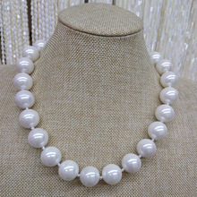 Huge 12/14/16/18/20mm Genuine White South Sea Shell imitation Pearl Necklace 17'' AAA Good Mother of Pearl Shell Pearl Necklace(China)